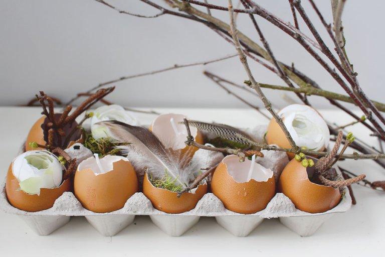húsvéti dekor tojástartóból