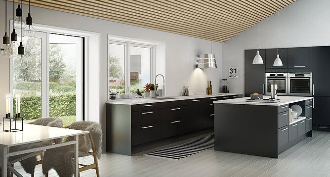 modern fekete konyha szigettel