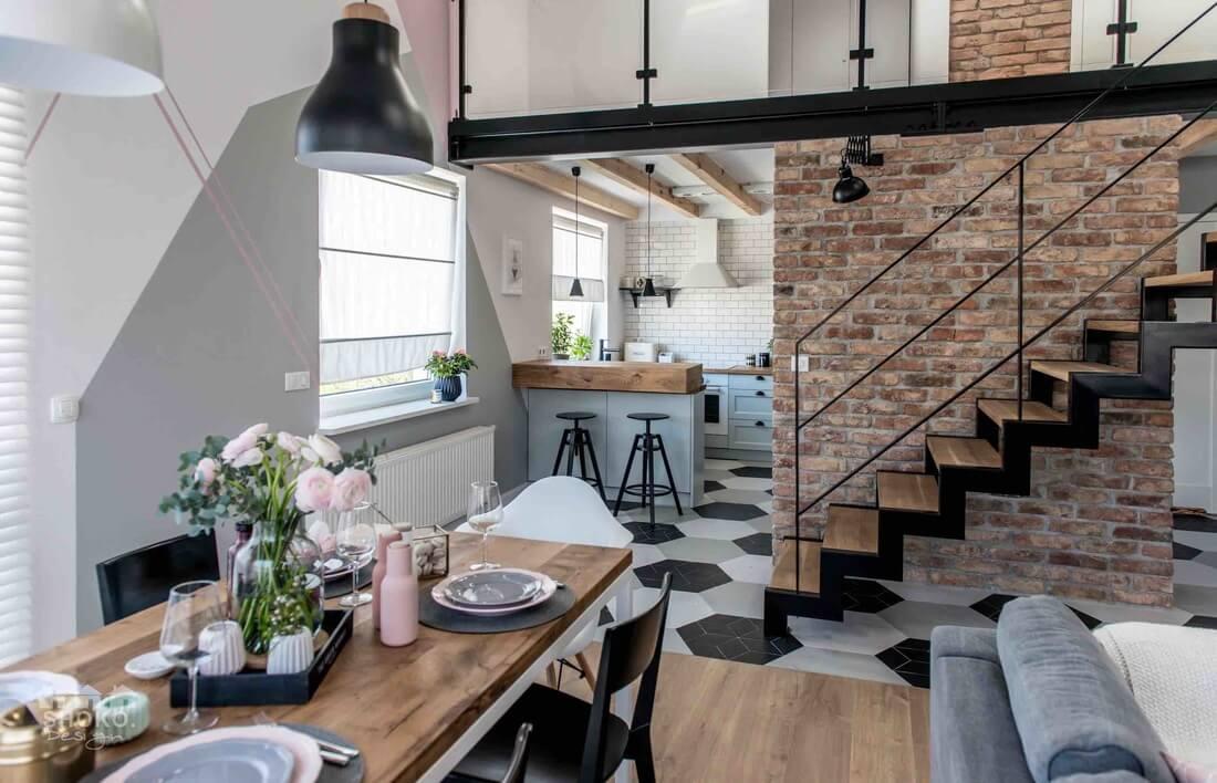 skandináv lakás indusztriális elemekkel